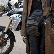 Сумки и аксессуары handmade. Livemaster - original item Brown Leather Leg Hip Bum Waist Rider Bag. Handmade.