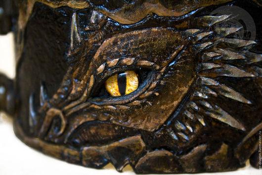 Браслет  из натуральной кожи `Дракон` Кожевенная мастерская `Silver Dragon`