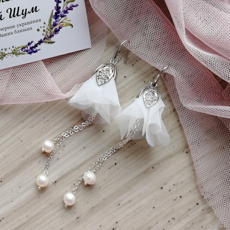 Свадебные украшения ручной работы. Ярмарка Мастеров - ручная работа. Купить Свадебные серьги длинные с жемчугом. Handmade. Серьги