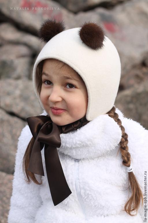 """Шляпы ручной работы. Ярмарка Мастеров - ручная работа. Купить Детская шапочка из фетра """"Ourson au chocolat"""" (Шоколадный мишка). Handmade."""