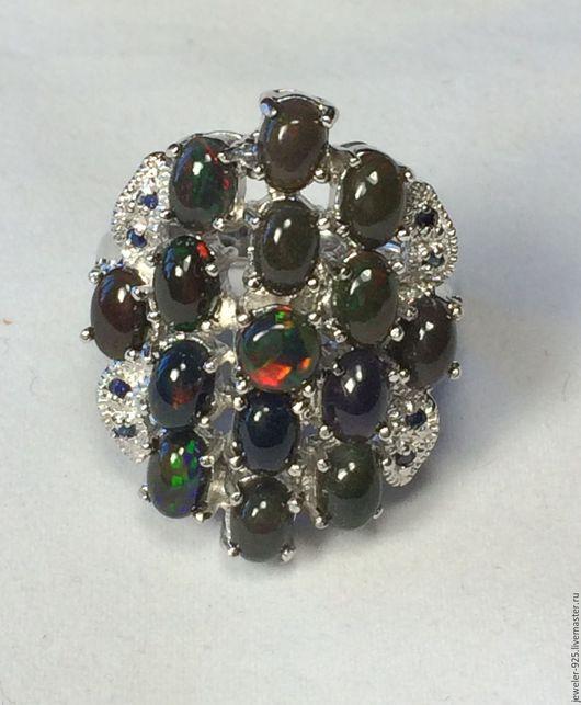 """Кольца ручной работы. Ярмарка Мастеров - ручная работа. Купить Крупное кольцо с чер. Опалами """"Грезы"""", серебро 925, золото14к. Handmade."""