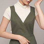 Одежда ручной работы. Ярмарка Мастеров - ручная работа Сарафан, платье из хлопка серо-зеленый. Handmade.