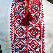 Одежда ручной работы. Ярмарка Мастеров - ручная работа Вышиванка льняная славянская красно-черная. Handmade.