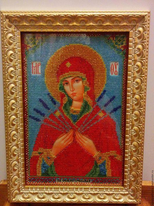 """Иконы ручной работы. Ярмарка Мастеров - ручная работа. Купить """"Пресвятая Богородица Семистрельная"""". Handmade. Иконы из бисера, подарок женщине"""