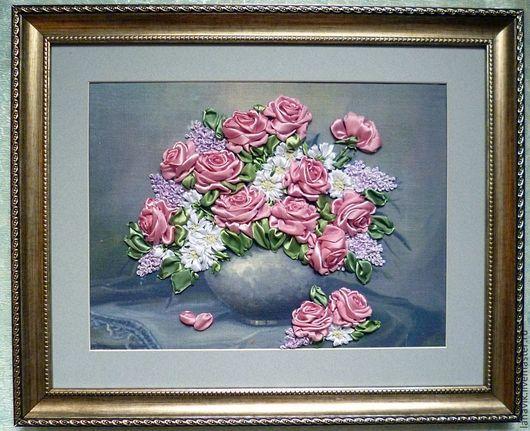 Картины цветов ручной работы. Ярмарка Мастеров - ручная работа. Купить Нежность. Handmade. Букет цветов, атласные ленты