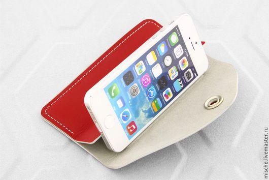 Для телефонов ручной работы. Ярмарка Мастеров - ручная работа. Купить Чехол для Iphone Wallet-Case/Mische. Handmade. Бордовый