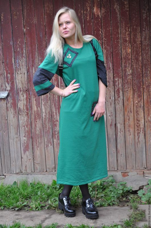 """Платья ручной работы. Ярмарка Мастеров - ручная работа. Купить Платье """"Зеленое дизайнерское настроение"""". Handmade. Зеленый, джерси"""