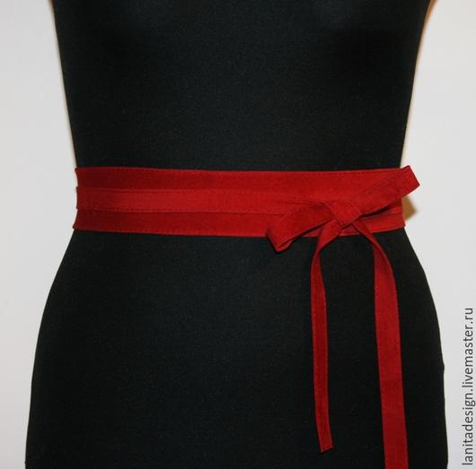 Пояса, ремни ручной работы. Пояс-кушак из замши `Red 4`. Lanita Design. Ярмарка Мастеров.