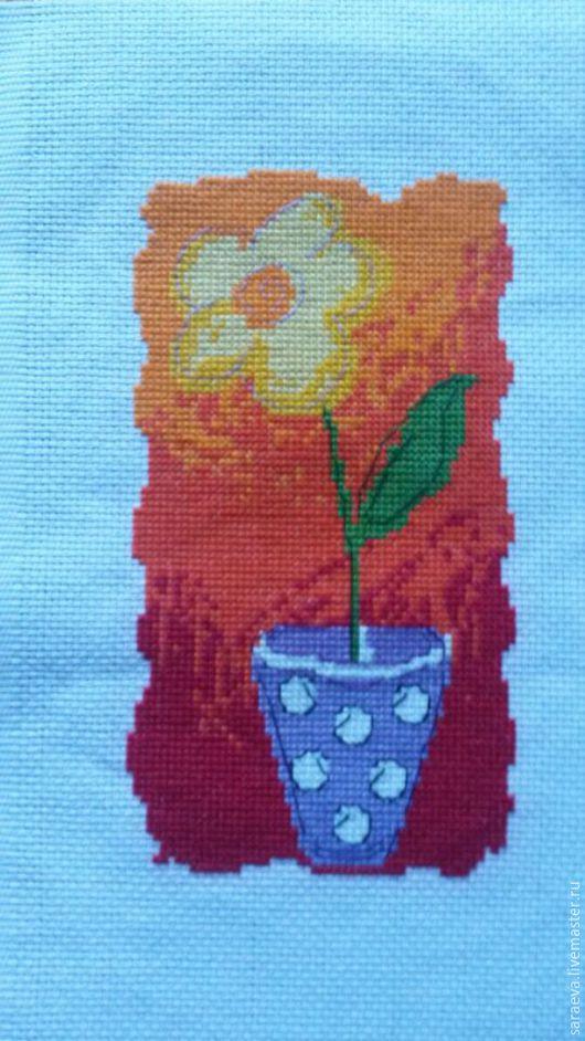 Абстракция ручной работы. Ярмарка Мастеров - ручная работа. Купить Вышивка Цветок в горшке. Handmade. Рыжий, цветы, вышивка ручная