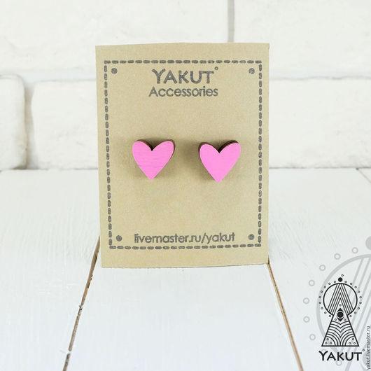 Серьги ручной работы. Ярмарка Мастеров - ручная работа. Купить Сережки Сердечки розовые / Сережки - гвоздики из дерева. Handmade.