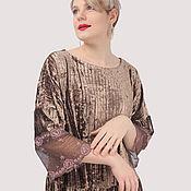 Одежда handmade. Livemaster - original item Evening dress elegant velvet with lace. Handmade.