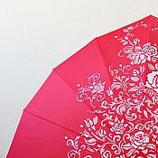 """Аксессуары ручной работы. Ярмарка Мастеров - ручная работа Зонт с ручной росписью """"Сердце из роз"""" красный - оригинальный подарок. Handmade."""
