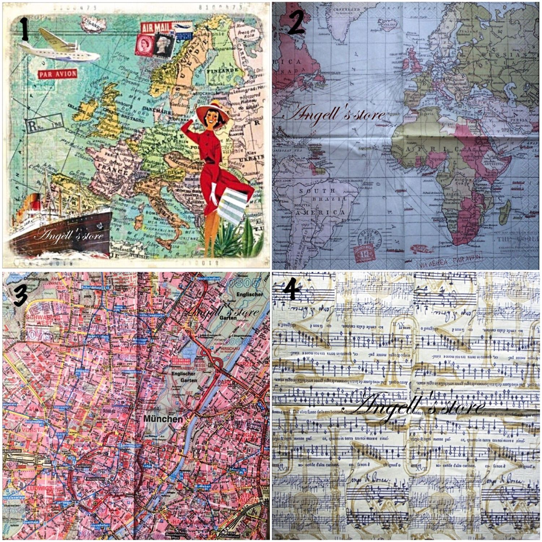 Салфетки 4вида Карты и ноты, Салфетки для декупажа, Астрахань, Фото №1