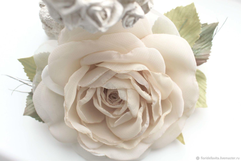 """ЦВЕТЫ ИЗ ТКАНИ. Шифоновая роза """"Белый песок"""", Брошь-булавка, Видное,  Фото №1"""