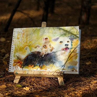 Картины и панно ручной работы. Ярмарка Мастеров - ручная работа Друзья собаки картина акварелью. Handmade.