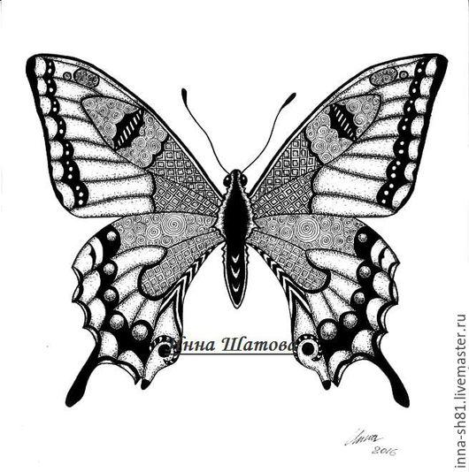 Животные ручной работы. Ярмарка Мастеров - ручная работа. Купить Бабочка. Handmade. Чёрно-белый, насекомые, графика, картина в подарок