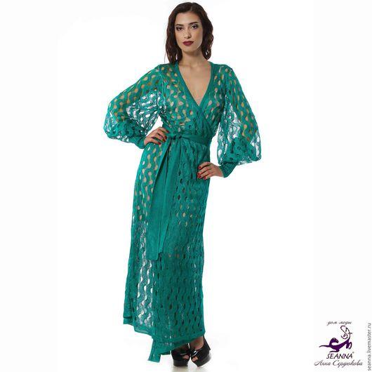 Верхняя одежда ручной работы. Ярмарка Мастеров - ручная работа. Купить Роскошное вязаное платье-пальто из итальянского натурального шелка. Handmade.