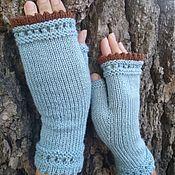 Аксессуары handmade. Livemaster - original item Mitts: Knitted mitts with cloves mint/brown. Handmade.