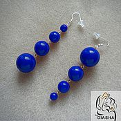 Украшения handmade. Livemaster - original item Trendy long summer blue electric blue earrings. Handmade.