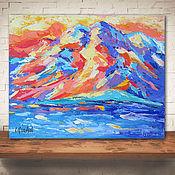 Картины и панно handmade. Livemaster - original item Landscape with mountains oil