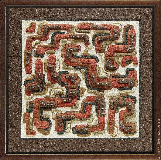 """Абстракция ручной работы. Ярмарка Мастеров - ручная работа. Купить авторская картина из песка """"Движение"""". Handmade. Коричневый, черный, песок"""