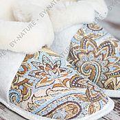 """Обувь ручной работы. Ярмарка Мастеров - ручная работа Чуни из овчины """"Огурцы"""" белые. Handmade."""
