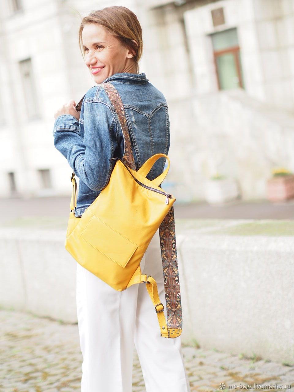 Toledo mini.  Yellow backpack leather, Backpacks, St. Petersburg,  Фото №1