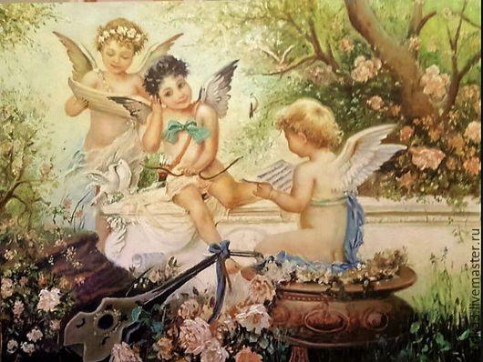 Фантазийные сюжеты ручной работы. Ярмарка Мастеров - ручная работа. Купить Ангелы. Картина маслом.. Handmade. Комбинированный, старинный стиль