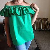 Одежда ручной работы. Ярмарка Мастеров - ручная работа Блуза с воланом изумрудная. Handmade.