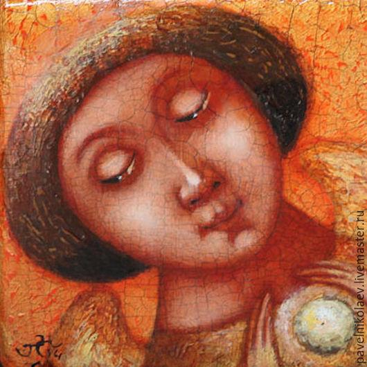 """Фантазийные сюжеты ручной работы. Ярмарка Мастеров - ручная работа. Купить """"Ангел-хранитель души"""", авторская печать.. Handmade. Оранжевый"""
