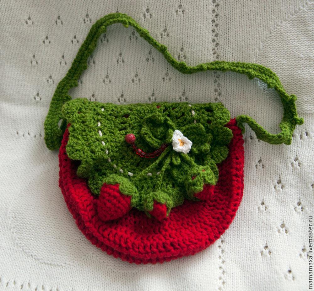 Вязаная сумочка для девочки в виде божьей коровки (крючок).