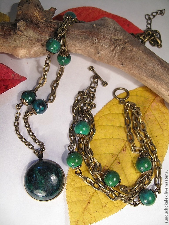 Set with chrysocolla, the 'Green lady', Jewelry Sets, St. Petersburg,  Фото №1
