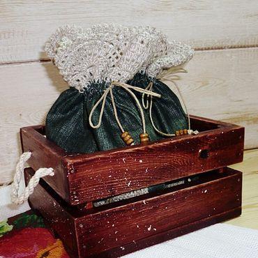 Для дома и интерьера ручной работы. Ярмарка Мастеров - ручная работа Льняные мешочки  для  трав с кармашками. Handmade.