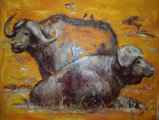 Животные ручной работы. Ярмарка Мастеров - ручная работа. Купить Буйволы. Handmade. Оранжевый, животные, буйвол, природа, холст на подрамнике