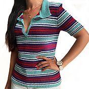 Одежда handmade. Livemaster - original item Polo shirt for women Laguna, p. 44-46 (S-M), knitting, khlo. Handmade.