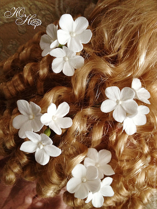 Свадебные украшения ручной работы. Ярмарка Мастеров - ручная работа. Купить Шпильки в прическу невесты с  белыми цветами. Handmade. Украшение