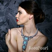 Украшения handmade. Livemaster - original item Fashionable gray soutache necklace with turquoise