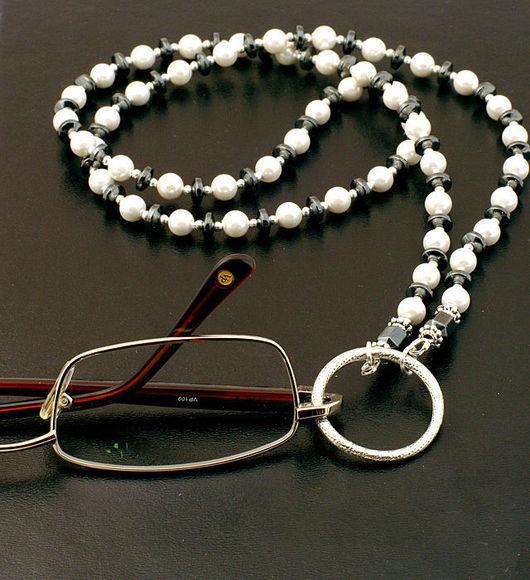 оригинальный подарок юбилей новый дизайнер цепочка для очков жемчуг гематит оберег амулет талисман серебро цепочка очки солнца сестре друг маме бабушке свекрови начальнице коллеге подарок оригинальный