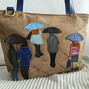 Сумки и аксессуары handmade. Livemaster - original item Leather bag. Bag with applique. People in the rain blue. Handmade.