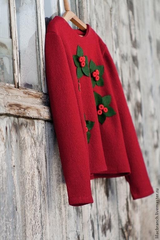 """Кофты и свитера ручной работы. Ярмарка Мастеров - ручная работа. Купить Свитшот """"Ягодный"""". Handmade. Ярко-красный, кофта женская"""
