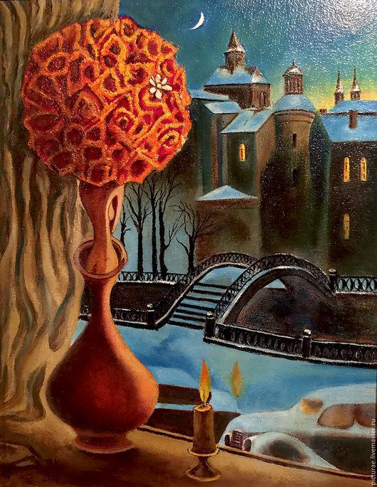 Город ручной работы. Ярмарка Мастеров - ручная работа. Купить Картина маслом на холсте В Предчувствии Чуда. Handmade. Синий