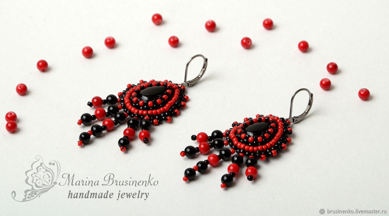 Earrings beaded with agate Carmen red black, Earrings, Novosibirsk,  Фото №1