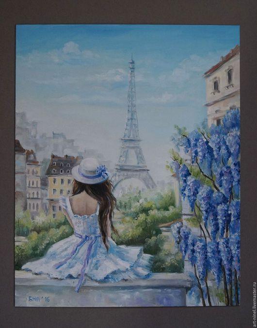 """Люди, ручной работы. Ярмарка Мастеров - ручная работа. Купить """"Сны о Париже"""" (40х50) картина маслом. Handmade. Комбинированный, город"""