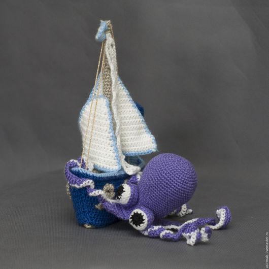 Техника ручной работы. Ярмарка Мастеров - ручная работа. Купить Кораблик. Handmade. Голубой, осьминожка, шерсть с акрилом, пластик