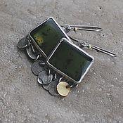 Украшения handmade. Livemaster - original item Earrings with jade, silver and brass. Handmade.
