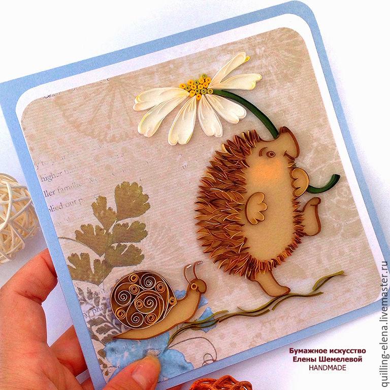 открытки с ежами своими руками одной стороны