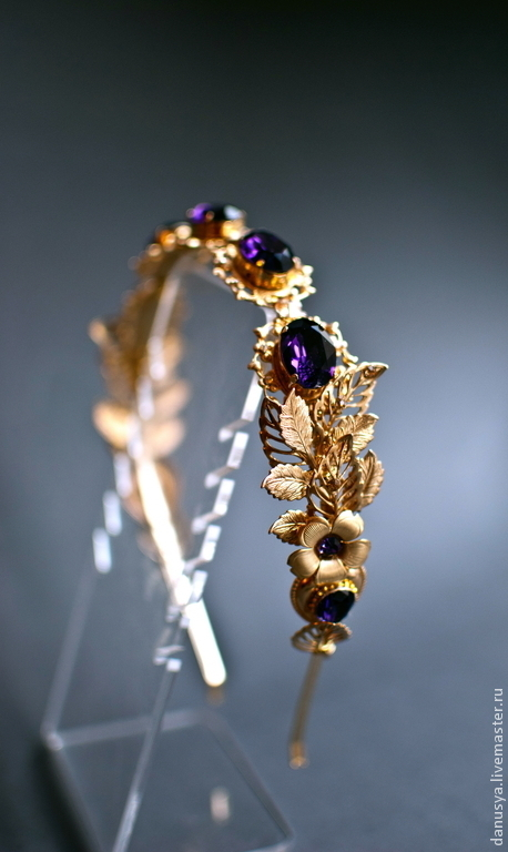 """Диадемы, обручи ручной работы. Ярмарка Мастеров - ручная работа. Купить Диадема """"Purple Velvet""""в стиле D&G. Handmade. Золотой"""