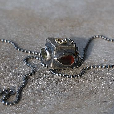 Decorations handmade. Livemaster - original item RESERVE Pendant square on chain, silver and brass. Handmade.