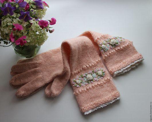 Варежки, митенки, перчатки ручной работы. Ярмарка Мастеров - ручная работа. Купить перчатки. Handmade. Бежевый, вышивка Рококо, шерсть