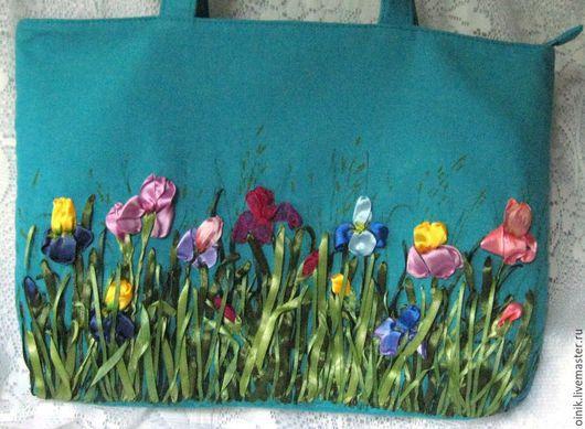Сумка из льна с вышивкой лентами, повседневная сумка, ирисы